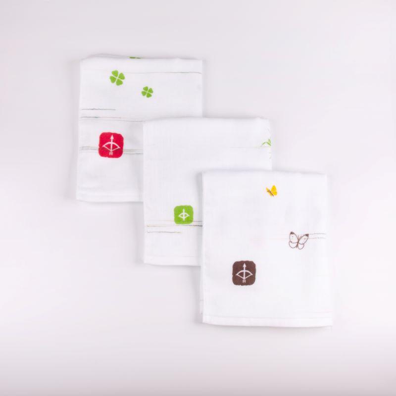 099H331 JAPAN madeガーゼタオル 3枚セット(スラブ緑)