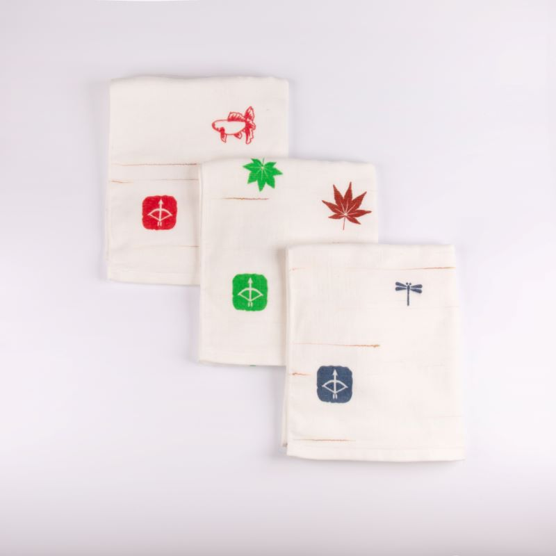 099H333 JAPAN madeガーゼタオル 3枚セット(スラブ赤)