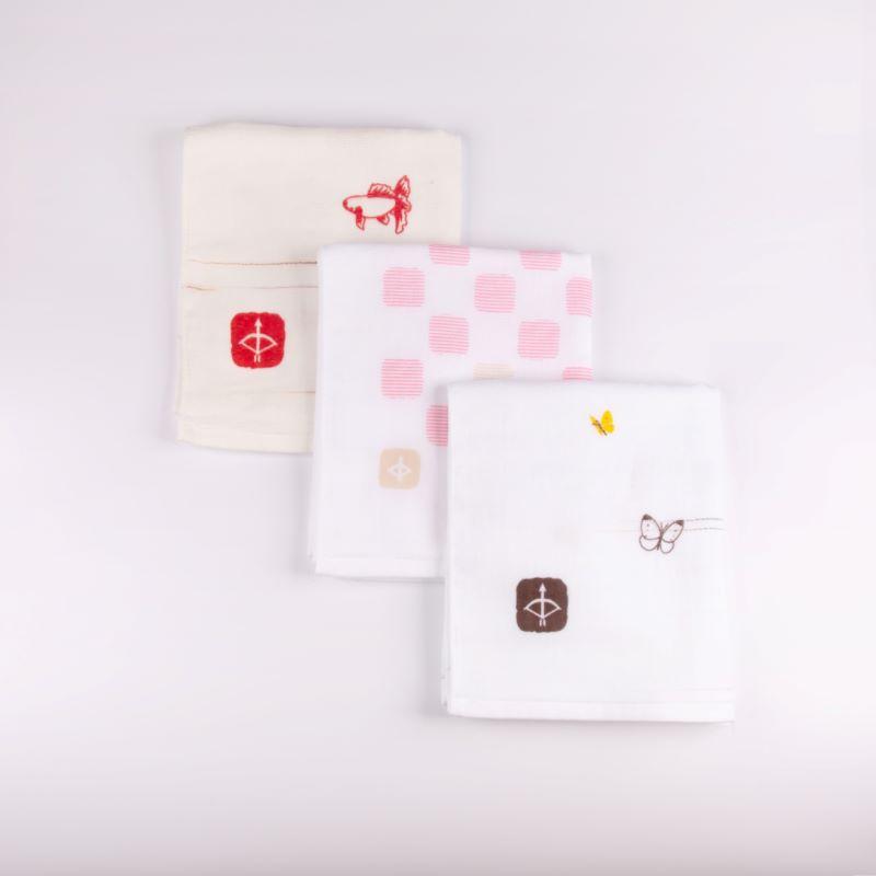 099H334 JAPAN madeガーゼタオル 3枚セット(おまかせアソートA)