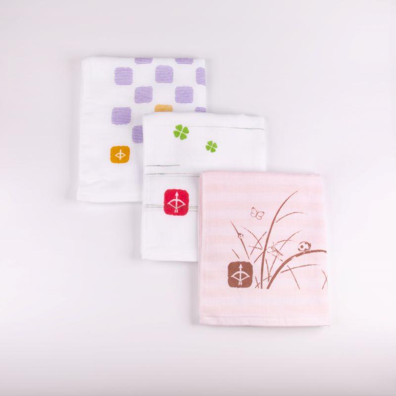 099H337 JAPAN madeガーゼタオル 3枚セット(おまかせアソートD)