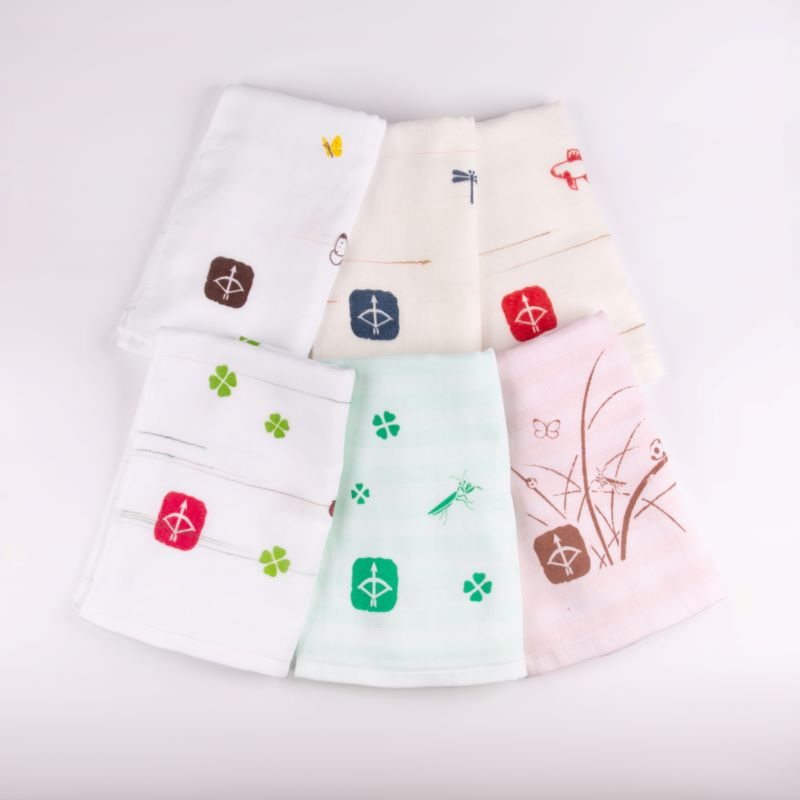 099H338 JAPAN madeガーゼタオル 6枚セット(+ハンドタオル1枚付)おまかせアソートE