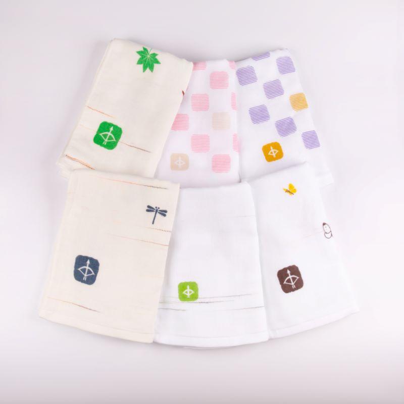 099H339 JAPAN madeガーゼタオル 6枚セット(+ハンドタオル1枚付)おまかせアソートF
