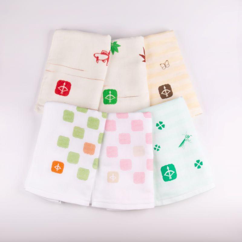 099H341 JAPAN madeガーゼタオル 6枚セット (+ハンドタオル1枚付)おまかせアソートH