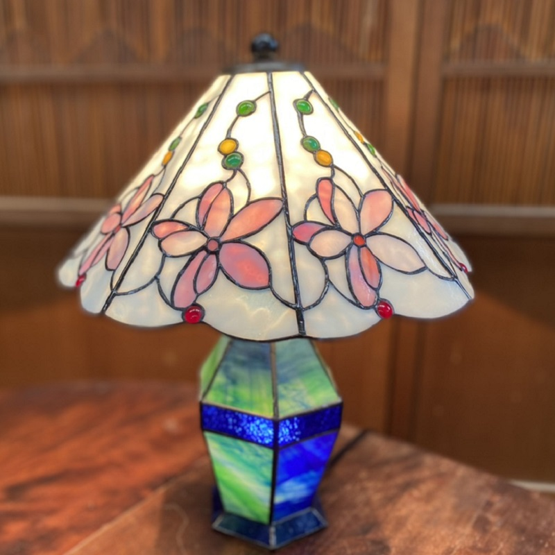 099H525  ステンドグラス・ランプ「八面体お花ランプ」(ベースガラス仕上げ)