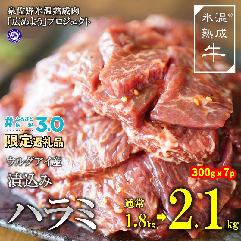 G013 氷温(R)熟成牛 漬込みハラミ(ウルグアイ産)2.1kg(300g×7)