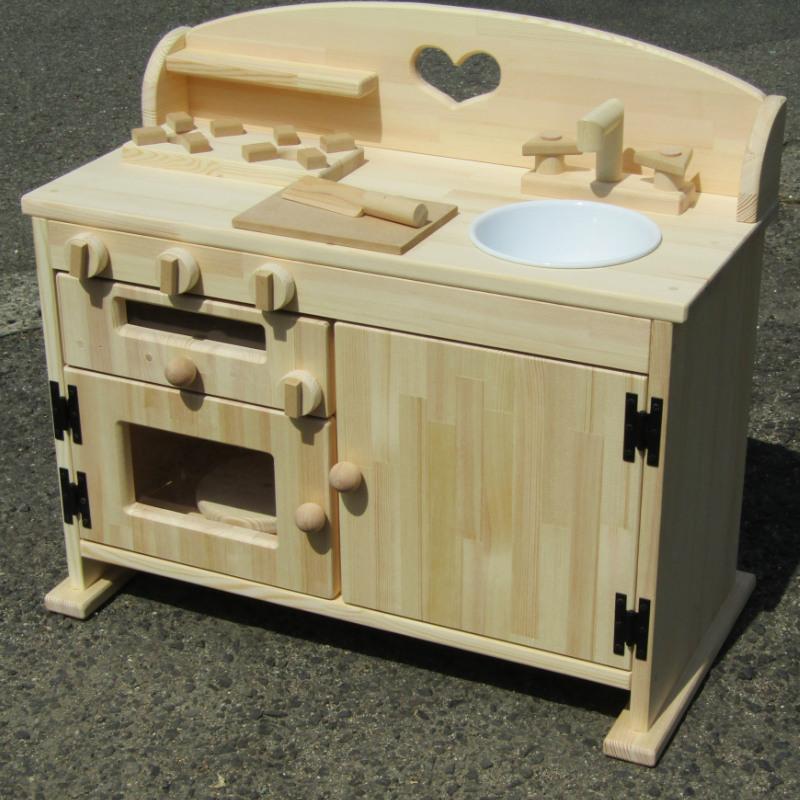 099H235 手作り木製ままごとキッチン魚焼きグリルの付いたGHK(素材色)