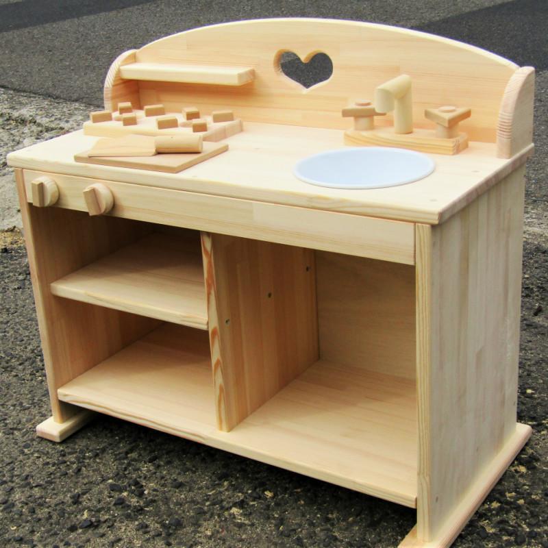 099H219 手作り木製 ままごとキッチンUHK(素材色バージョン)