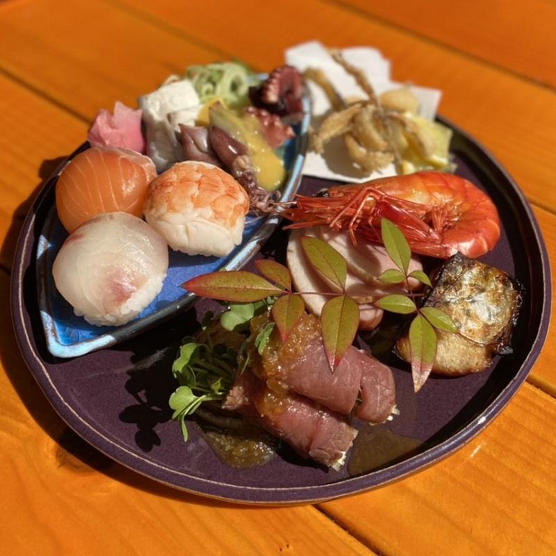 099H238  「日本遺産」泉州水なす釉と茅渟海ブルーのセット皿