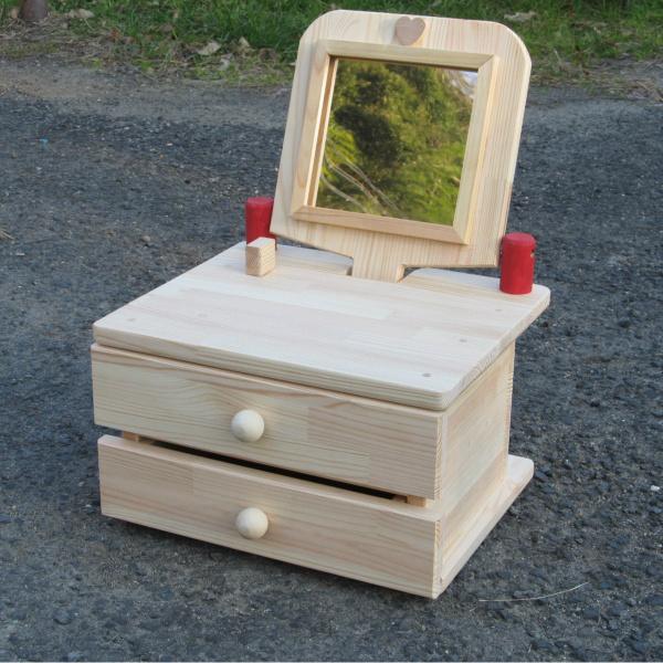 099H086 手作り木製姫鏡台2段ワイドミラー