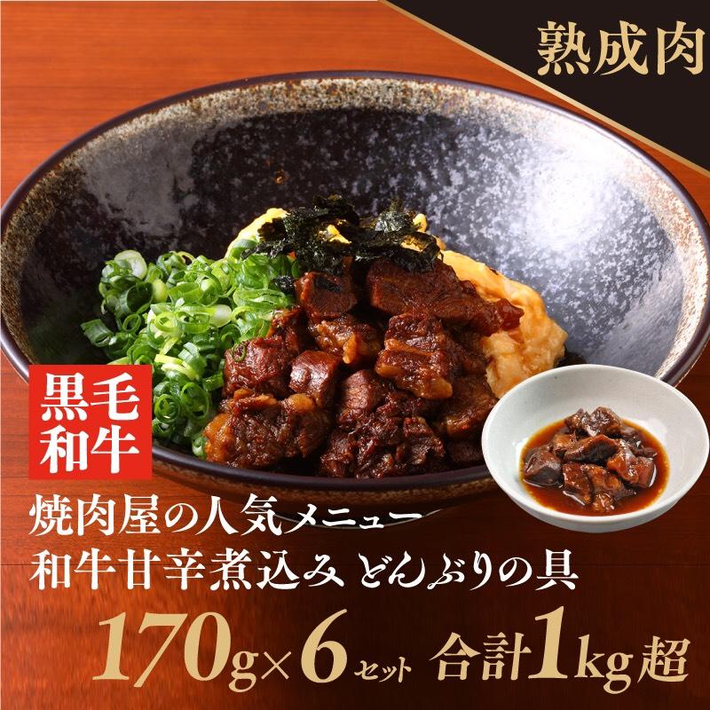010B525 熟成黒毛和牛のお肉で甘辛く煮込んだどんぶりの具(170g×6個)