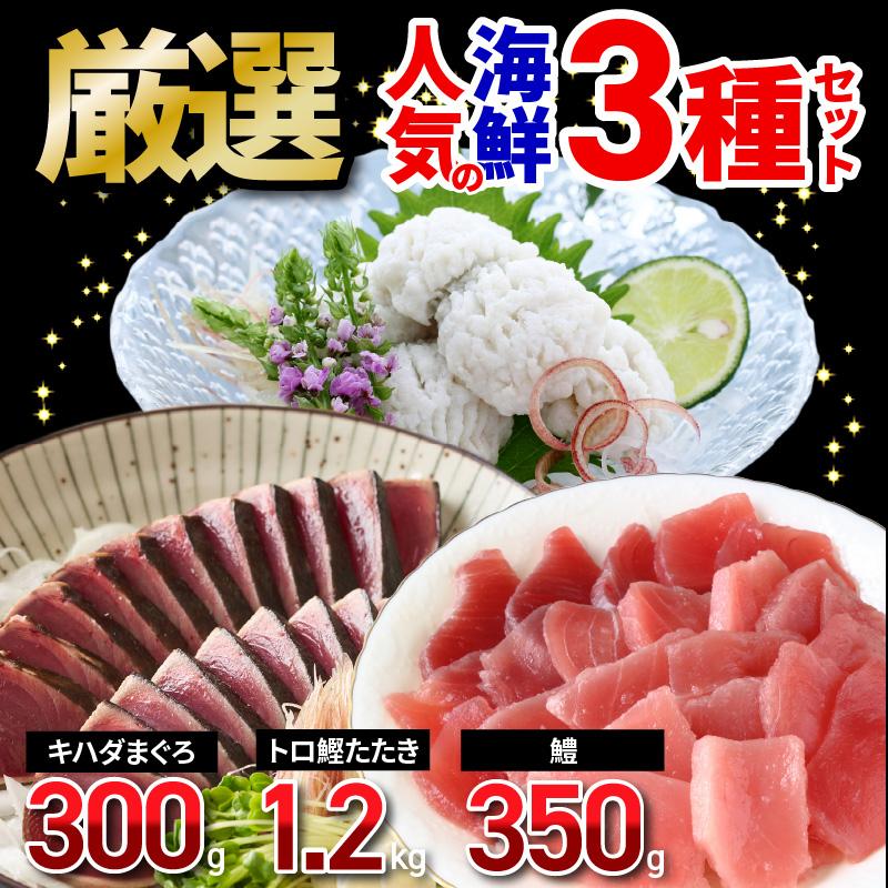 099H587 厳選!人気の海鮮 3種セット(キハダまぐろ赤身・トロ鰹たたき・鱧おとし)