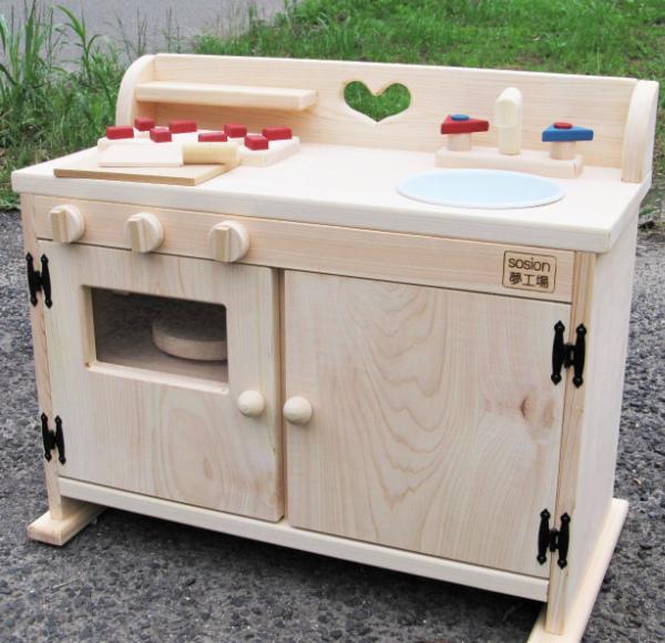 099H087 手作り木製ままごとキッチン総吉野の桧製DHK