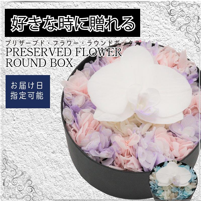 099G053 胡蝶蘭・プリザのアレンジ 円形ボックスS